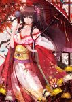 1girl alternate_costume autumn_leaves bare_shoulders breasts brown_hair cleavage cloudy.r flower hair_in_mouth hair_ornament hair_stick highres japanese_clothes kantai_collection kimono long_hair looking_at_viewer off_shoulder oriental_umbrella ponytail red_eyes solo umbrella very_long_hair yamato_(kantai_collection)