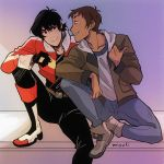 2boys artist_name black_hair blush boots brown_hair dark_skin dark_skinned_male fingerless_gloves gloves grin hood hoodie hyakujuu-ou_golion jacket keith_(voltron) knee_boots lance_(voltron) looking_at_another male_focus miyuli mullet multiple_boys open_clothes open_jacket sitting smile voltron:_legendary_defender