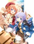 2girls :d alternate_hairstyle angora_rabbit anko_(gochiusa) blue_eyes blue_hair blush bracelet briefcase brown_hair brown_legwear brown_skirt buttons chess_piece coat coffee coffee_cup cover cover_page cup disposable_cup eyepatch gochuumon_wa_usagi_desu_ka? hair_ornament hands_together hat highres holding_hands hoto_cocoa jewelry kafuu_chino koi_(koisan) light_blush logo long_hair looking_at_viewer luggage manga_time_kirara multiple_girls official_art open_mouth pointing pointing_up queen_(chess) rabbit red_shirt shirt short_hair skirt smile stuffed_animal stuffed_toy thighs tippy_(gochiusa) top_hat umbrella violet_eyes white_legwear white_skirt wild_geese x_hair_ornament
