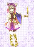 1girl black_ribbon blue_cape boots bow_legwear bracelet cape commentary_request earmuffs embellished_costume full_body hairband hand_on_hip jewelry light_brown_hair lolita_hairband looking_at_viewer mimippu neck_ribbon outstretched_arm pointy_hair purple_skirt ribbon ritual_baton sash shirt short_hair skirt sleeveless sleeveless_shirt solo touhou toyosatomimi_no_miko yellow_boots yellow_eyes