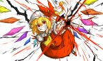 1girl ascot blonde_hair clenched_teeth crazy_eyes energy fingernails flandre_scarlet hat hat_ribbon kan_(aaaaari35) long_fingernails looking_at_viewer mob_cap nail_polish red_eyes red_nails red_shoes red_skirt red_vest ribbon sharp_fingernails shirt shoes short_hair short_sleeves side_ponytail simple_background skirt skirt_set solo teeth touhou white_background white_shirt wings