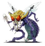 artist_name beelzebub_(megami_tensei) carapace fly highres insect_wings kazuma_kaneko multiple_arms official_art oldschool shin_megami_tensei skull_and_crossbones skull_necklace staff tiger_print wings