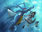 anchor black_hair determined funayuurei ghost hat hishaku horsea kingdra murasa_minamitsu pokemon pokemon_(creature) sailor sailor_hat scull swimming touhou underwater