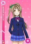 blush brown_eyes brown_hair character_name long_hair love_live!_school_idol_festival love_live!_school_idol_project minami_kotori seifuku side_ponytail smile