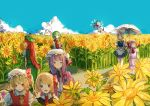 >_< 6+girls apron arms_at_sides ascot bat_wings beret black_vest blonde_hair blue_dress blue_eyes blue_hair blue_shoes blue_sky bow braid chinese_clothes cirno closed_eyes clouds collared_shirt crescent crescent_moon_pin day dress flandre_scarlet garden_of_the_sun green_hair green_skirt hair_bow hair_ribbon hat hat_bow hat_ornament highres holding holding_umbrella hong_meiling ice ice_wings kazami_yuuka light_smile long_hair looking_at_another looking_down looking_to_the_side maid maid_apron maid_headdress mob_cap multiple_girls nukominto open_mouth parasol patchouli_knowledge pink_shirt pink_skirt plaid plaid_skirt plaid_vest puffy_short_sleeves puffy_sleeves purple_coat purple_hair red_eyes red_skirt red_vest redhead remilia_scarlet ribbon rumia shirt shoes short_dress short_hair short_sleeves side_ponytail side_slit silver_hair skirt skirt_set sky smile standing striped striped_dress tangzhuang touhou tress_ribbon twin_braids umbrella very_long_hair walking white_shirt wings