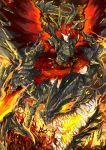 1girl armor belt dragon fire highres kan_(aaaaari35) orange_eyes original redhead scales skirt sword tail weapon wings