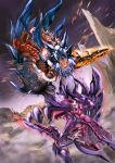 1girl aqua_eyes armor battle capcom charge_blade claws from_behind gateofrage gauntlets glavenus glavenus_(armor) highres holding holding_shield holding_sword holding_weapon jaw knight monster monster_hunter monster_hunter_x roaring sharp_teeth shield spikes sword tail teeth weapon wyvern