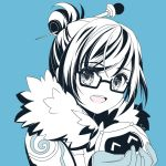 1girl atobesakunolove blue_background glasses hair_bun hair_ornament hair_stick looking_at_viewer mei_(overwatch) monochrome open_mouth overwatch portrait short_hair simple_background smile solo