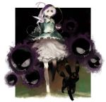 1girl crossover espeon eyeball fangs full_body gastly hairband heart komeiji_satori long_sleeves looking_at_viewer pokemon pokemon_(creature) pokemon_(game) red_eyes ryono_mizuki shirt short_hair skirt string third_eye touhou umbreon wide_sleeves