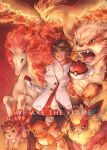1girl arcanine black_legwear brown_hair candela_(pokemon) charmander clenched_hand dark_skin english fire flareon gloves holding holding_poke_ball moltres open_mouth pantyhose payoki poke_ball pokemon pokemon_(creature) pokemon_go rapidash short_hair vulpix