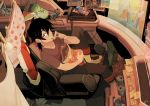 1boy black_hair boots boxers can chips earrings eating from_above gundam gundam_wing highres hyakujuu-ou_golion jacket jacket_removed jewelry keith_(voltron) male_focus mullet sitting solo sticky_note underwear voltron:_legendary_defender