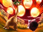 alolan_exeggutor artist_request exeggcute exeggutor grass highres minior no_humans open_mouth outdoors pokemon pokemon_(game) pokemon_sm red_sky sky sweatdrop