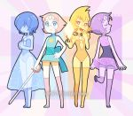 4girls alternate_form amethyst_(steven_universe) blue_pearl_(steven_universe) blue_skin blush dav-19 forehead_jewel gem hair_over_face hand_on_hip leotard long_skirt multiple_girls pale_skin pearl_(steven_universe) pompadour purple_skin sash see-through short_hair skirt sleeveless sword thigh-highs weapon yellow_pearl_(steven_universe) yellow_skin