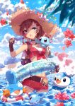 >_< 1girl :o adapted_costume animal animal_on_shoulder backpack bag bangs belt black_gloves blue_eyes blue_sky blurry breasts brown_hair choker closed_eyes crop_top depth_of_field female_protagonist_(pokemon_go) flower food front-tie_top gloves hat hat_flower highres holding holding_food horsea innertube lifebuoy long_hair looking_at_viewer luvdisc medium_breasts midriff mudkip ocean piplup pokemon pokemon_(creature) pokemon_go ponytail popsicle red_flower red_shorts shade shorts signature sky sleeveless squirtle standing straw_hat summer swept_bangs wading wailmer wet wingull zenyu