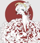 1girl blue_eyes breasts choker dress feathers frilled_dress frills hair_over_one_eye headgear hu_(saimens) lips lipstick looking_at_viewer makeup mechanical_halo medium_breasts mercy_(overwatch) monochrome overwatch ponytail red_lips red_lipstick smeared_lipstick solo spot_color wings