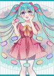 blush green_eyes green_hair hatsune_miku long_hair seifuku smile twintails vocaloid
