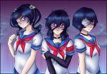 eyepatch kokuma_jutsu mulberrydreamer oka_ruto purple_eyes purple_hair skull supana_churu three_girls yandere_simulator
