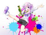 1girl bike_shorts d-pad female hair_ornament imo_soba ink_tank_(splatoon) looking_at_viewer neptune_(choujigen_game_neptune) neptune_(series) open_mouth paint_splatter purple_hair short_hair short_jumpsuit smile solo splatoon splattershot_(splatoon) violet_eyes