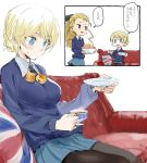 assam black_legwear blonde_hair blue_eyes blue_skirt blush braid breasts brown_eyes check_commentary collared_shirt commentary_request couch cup darjeeling food food_on_body girls_und_panzer homaredai large_breasts long_hair necktie pantyhose pillow saucer scone shirt sitting sitting_on_object sketch skirt sweatdrop sweater teacup translation_request union_jack