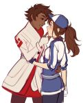 2girls baseball_cap blue_eyes blue_nails blush candela_(pokemon) coat dark_skin female_protagonist_(pokemon_go) fingerless_gloves gloves hat incipient_kiss long_hair looking_at_another multiple_girls nail_polish pantyhose pokemon pokemon_go ponytail red_eyes red_nails short_hair simple_background smile sweatdrop white_background yuri