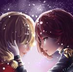 2016 2girls artist_request blonde_hair closed_eyes dated epaulettes gloves hand_on_another's_face light_smile multiple_girls nelson_(zhan_jian_shao_nyu) profile red_lips redhead rodney_(zhan_jian_shao_nyu) snow uniform yuri zhan_jian_shao_nyu