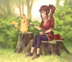 1girl apple baseball_cap blurry brown_hair bush cropped_jacket depth_of_field female_protagonist_(pokemon_go) fingerless_gloves food forest fruit gloves grass hair_between_eyes hat hat_removed headwear_removed leggings long_hair looking_at_another nature okakan outdoors pikachu plant pokemon pokemon_(creature) pokemon_go ponytail red_shirt shirt sitting smile tree tree_stump