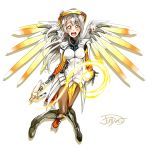 1girl absurdres artist_name blush breasts cosplay crossover full_body gloves grey_hair highres holding_staff jindai3663 knees_together_feet_apart large_breasts long_hair looking_at_viewer love_live! love_live!_school_idol_project mechanical_halo mechanical_wings mercy_(overwatch) mercy_(overwatch)_(cosplay) minami_kotori one_side_up open_mouth overwatch signature simple_background smile solo spread_wings staff white_background wings yellow_eyes