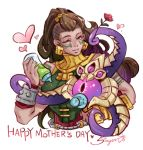 1girl baby_bottle bare_shoulders bottle brown_hair commentary dark_skin earrings facial_tattoo flower green_eyes hair_ornament heart hug illaoi jewelry league_of_legends long_hair mother's_day one_eye_closed pacifier pink_eyes shirt signature sleeveless sleeveless_shirt sueyen tattoo tentacles vel'koz wrist_guards
