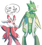 black_eyes blush english flying_sweatdrops highres looking_away lurantis mantis pokemon red_sclera scyther