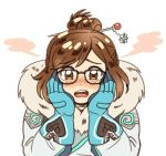 1girl bangs beads black-framed_eyewear blue_gloves blush coat derivative_work embarrassed eyebrows eyebrows_visible_through_hair fur-lined_jacket fur_coat fur_trim glasses gloves hair_bun hair_ornament hair_stick hands_on_own_cheeks hands_on_own_face looking_at_viewer mei_(overwatch) open_mouth overwatch panza parka short_hair sidelocks simple_background snowflake_hair_ornament solo swept_bangs teeth upper_body white_background winter_clothes winter_coat