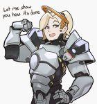1girl armor blonde_hair blue_eyes english halo high_ponytail mechanical_halo mercy_(overwatch) overwatch ponytail reinhardt_(overwatch) reinhardt_(overwatch)_(cosplay) solo splashbrush