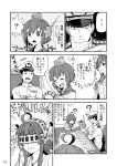 1boy 2girls ? adjusting_headwear admiral_(kantai_collection) ahoge antennae bangs biting boom_microphone commentary detached_sleeves dress gloves greyscale gundam hairband hakama hand_on_headwear hat headgear japanese_clothes kantai_collection kongou_(kantai_collection) lip_biting long_hair map military military_hat military_uniform monochrome multiple_girls nontraditional_miko open_mouth peaked_cap sailor_dress shaded_face sidelocks sitting sweatdrop table translation_request uniform watanore wide_sleeves yukikaze_(kantai_collection) zeta_gundam