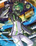 1boy 2d acidmond black_gloves cowboy_shot fingerless_gloves gas_mask gloves green_eyes green_hair holographic_interface instrument keyboard_(instrument) looking_at_viewer lowres male_focus official_art show_by_rock!! solo stereo