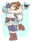 1girl bangs beads belt belt_pouch bird black-framed_eyewear blue_legwear blush blush_stickers boots brown_eyes brown_hair canteen coat drone eyebrows eyebrows_visible_through_hair floating full_body fur-lined_boots fur-lined_jacket fur_boots fur_coat fur_trim glasses gloves hair_bun hair_ornament hair_stick hand_on_glasses hand_on_hip hand_up looking_at_viewer machinery mei_(overwatch) overwatch parka robot shoes short_hair sidelocks smile solo sparkle spiked_shoes spikes standing standing_on_one_leg winter_clothes winter_coat