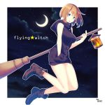 1girl :3 :d al_(flying_witch) animal animal_on_shoulder ankle_boots aoi_banri artist_name bangs bare_arms bare_legs belt belt_boots black_dress blue_eyes blue_sky blush boots breasts broom brown_boots brown_hair carrying_under_arm clouds crescent_moon dress flying_witch from_side full-length_zipper full_body hair_between_eyes hamster hand_in_pocket highres inukai_(flying_witch) lantern large_breasts looking_at_viewer microdress moon night night_sky open_mouth outline outside_border pocket short_hair sky sleeveless smile star_(sky) starry_sky white_border zipper