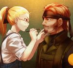 1boy 1girl beard black_ribbon blonde_hair blue_eyes blush brown_hair brush closed_mouth eyepatch facial_hair from_side glasses haikeb89 hair_ribbon headband holding_brush looking_at_another metal_gear_(series) metal_gear_solid mustache original ponytail ribbon rimless_glasses shirt short_hair solid_snake suspenders sweatdrop upper_body white_shirt