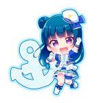 anchor blue_hair blush chibi happy long_hair love_live!_sunshine!! odango purple_eyes seifuku tsushima_yoshiko