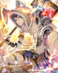 1boy animal_hood armor artist_name barefoot blue_eyes bracer brown_hair building c.seryl facial_mark hammer holding holding_weapon hood looking_at_viewer male_focus official_art outdoors over_shoulder shoulder_armor solo squatting sunlight tattoo tenkuu_no_crystalia watermark weapon