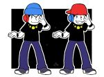 2boys backwards_hat baseball_cap beanie brothers gold_chain hat headphones male_focus matching_outfit matsuno_karamatsu matsuno_osomatsu medama-clip minna_no_rhythm_tengoku multiple_boys osomatsu-kun osomatsu-san outside_border parody rhythm_tengoku shoes siblings smile sneakers wristband