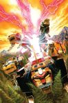 80s alex_ross claws clouds dusk electricity energy epic fangs flying forest gattai glowing glowing_eyes golion_(mecha) hyakujuu-ou_golion jaws light_rays lion mecha mountain nature oldschool paws pine_tree realistic scan separated shiny snow super_robot traditional_media transformation tree when_you_see_it