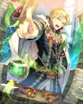 1boy artist_name blonde_hair blue_eyes c.seryl cape crystal_ball desk dutch_angle indoors looking_at_viewer medal official_art open_mouth paper_stack pointing solo standing tenkuu_no_crystalia watermark weapon_request