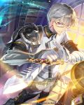 1boy armor artist_name c.seryl earrings glasses glint gloves holding holding_sword holding_weapon indoors jewelry looking_at_viewer male_focus official_art pointing_sword sheath sheathed silver_hair standing sunlight sword tagme tenkuu_no_crystalia violet_eyes watermark weapon white_gloves window