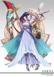 blue_hair bluh blush goddess horse long_hair love_live!_sunshine!! matsuura_kanan ponytail smile violet_hair