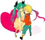 ari_(pixiv67790) blonde_hair blue_eyes green_eyes green_hair hair_ribbon hand_holding hatsune_miku headphones heart holding_hands kagamine_len long_hair ribbon short_hair twintails vocaloid