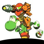 arm_cannon armor egg metroid metroid_(creature) nintendo riding samus_aran super_mario_bros. super_smash_bros. varia_suit weapon yoshi