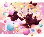 bad_id balloon bare_shoulders blonde_hair blue_eyes elbow_gloves flower gloves hagiwara_rin haneoka_meimi hat kaitou_saint_tail magical_girl ponytail ribbon saint_tail solo staff star top_hat
