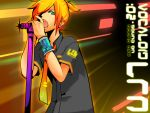 blonde_hair casual green_eyes h_e_r_o hair_over_one_eye hero_(pixiv) kagamine_len male microphone microphone_stand necktie open_mouth short_hair solo vocaloid