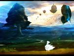 airship bad_id bird butterfly chitose_rin cloud clouds flying landscape letterboxed nature original rel river scenery shell sky solo tree wallpaper