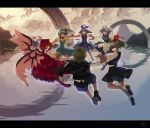 blue_eyes blue_hair cirno daiyousei green_eyes green_hair hat holding_hands lake laughing letty_whiterock mystia_lorelei red_eyes ribbon rumia smirk team_9 touhou vica wings wriggle_nightbug