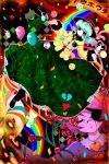 colorful eyes flower green_eyes green_hair grin hairband hakurei_reimu hanada_hyou hat heart highres kaenbyou_rin kirisame_marisa komeiji_koishi komeiji_satori purple_hair rainbow reiuji_utsuho rose shadow short_hair smile touhou vines